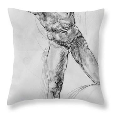 Old Masters Study Nude Man By Annibale Carracci Throw Pillow