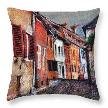 Old Medieval Street In Sighisoara Citadel Romania Throw Pillow