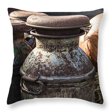 Old Milk Cans Throw Pillow