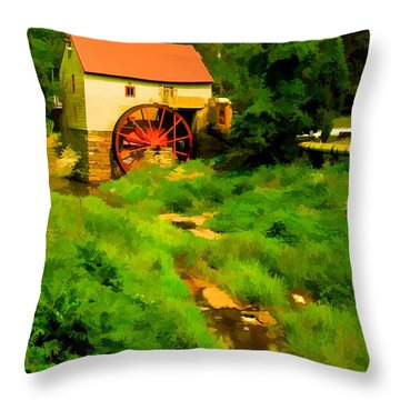 Old Mill In Springtime Throw Pillow