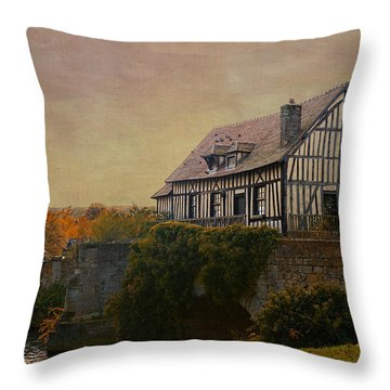 Old Mill On The Broken Bridge At Vernon Throw Pillow