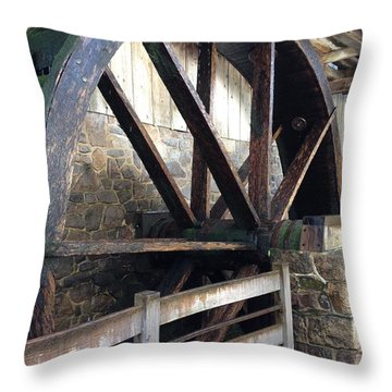 Throw Pillow featuring the photograph Old Mill Water Wheel by Jeannie Rhode