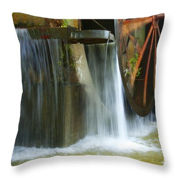 Old Mill Water Wheel Throw Pillow by Paul W Faust -  Impressions of Light