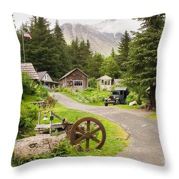 Old Mining Alaskan Town Throw Pillow