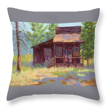 Throw Pillow featuring the painting Old Mining Store by Nancy Jolley