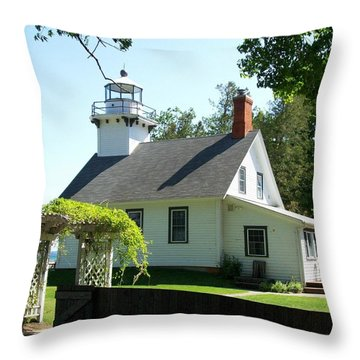Old Mission Lighthouse Throw Pillow by Michelle Calkins