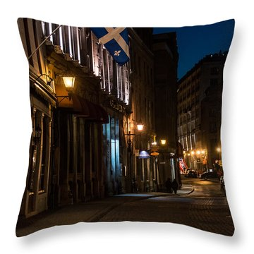 Old Montreal At Night Throw Pillow by Cheryl Baxter