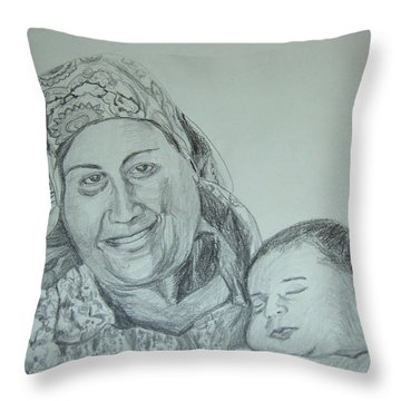 Old Mother With New Baby Throw Pillow by Esther Newman-Cohen