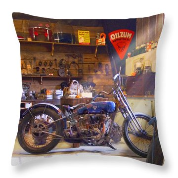 Old Motorcycle Shop 2 Throw Pillow