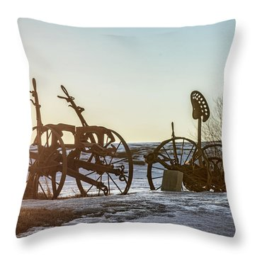 Old Mowers On The Hillside Throw Pillow