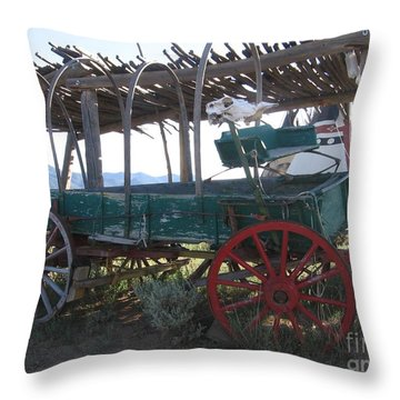 Throw Pillow featuring the photograph Old Native American Wagon by Dora Sofia Caputo Photographic Art and Design
