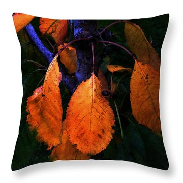 Old Orange Leaves Throw Pillow