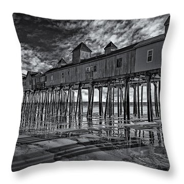 Old Orchard Beach Pier Bw Throw Pillow