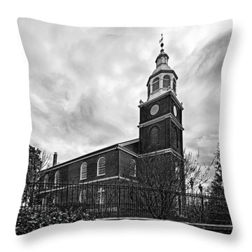 Old Otterbein Church In Black And White Throw Pillow