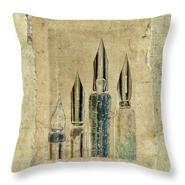 Old Pens Old Papers Throw Pillow by Carol Leigh