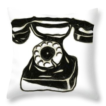 Old Phone Throw Pillow by Michal Boubin