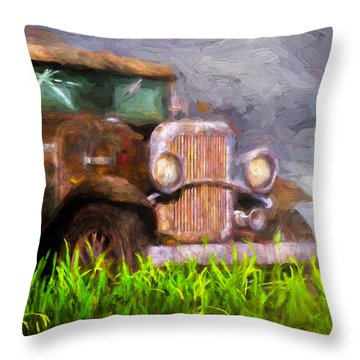 Old Pickup Throw Pillow by Bob Orsillo