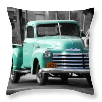 Old Pickup Truck Photo Teal Chevrolet Throw Pillow
