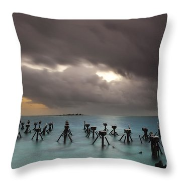 Old Pier In The Florida Keys Throw Pillow