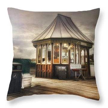 Old Pier Shop Throw Pillow by Ian Mitchell