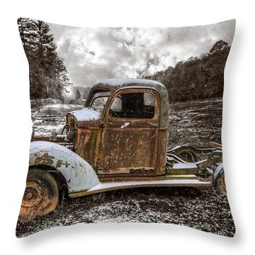 Old Plymouth Throw Pillow by Debra and Dave Vanderlaan