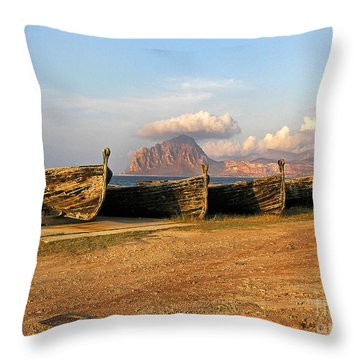 Old Port - Trapani - Sicily Throw Pillow by Silva Wischeropp