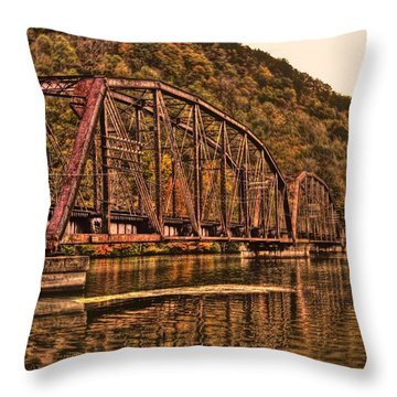 Throw Pillow featuring the photograph Old Railroad Bridge With Sepia Tones by Jonny D