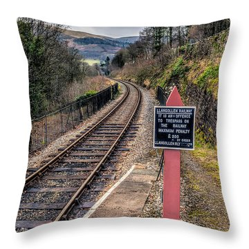 Old Railway Sign Throw Pillow by Adrian Evans