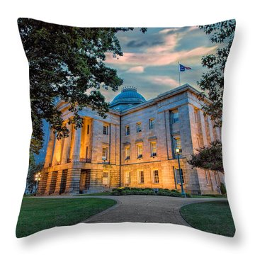 Old Raleigh Capital At Sunset I Throw Pillow by Dan Carmichael