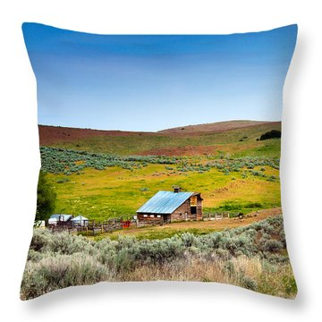 Old Ranch Throw Pillow by Robert Bales