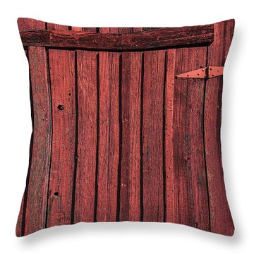 Old Red Barn Door Throw Pillow by Garry Gay