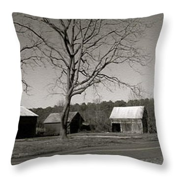 Old Red Barn In Black And White Long Throw Pillow