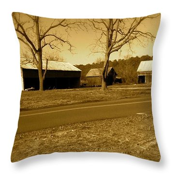 Old Red Barn In Sepia Throw Pillow by Amazing Photographs AKA Christian Wilson