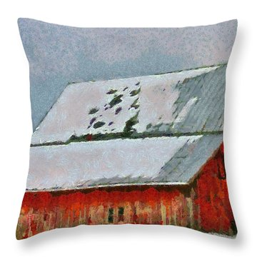 Old Red Barn In Winter Throw Pillow by Dan Sproul