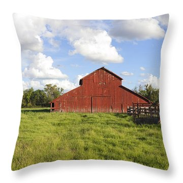 Throw Pillow featuring the photograph Old Red Barn by Mark Greenberg