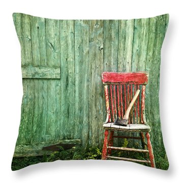 Throw Pillow featuring the photograph Old Red Chair Near A Barn/digital Oil Painting by Sandra Cunningham