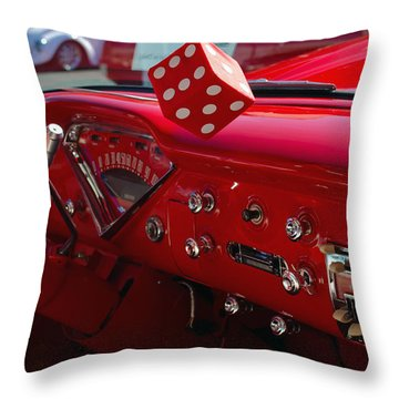 Throw Pillow featuring the photograph Old Red Chevy Dash by Tikvah's Hope