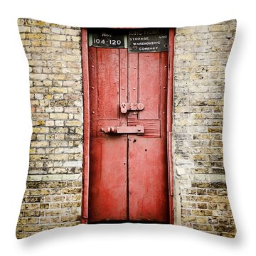 Old Red Door Throw Pillow by Heather Applegate