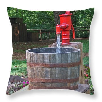 Old Red Water Pump Throw Pillow