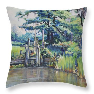 Old Rice Field Trunk Throw Pillow