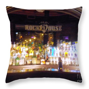 Throw Pillow featuring the photograph Old Rock House Bar by Kelly Awad