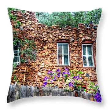 Throw Pillow featuring the photograph Old Rock House In Williams Canyon by Lanita Williams