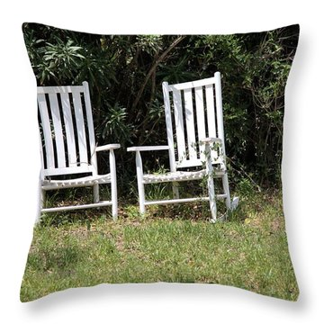 Old Rockers Throw Pillow by Gordon Elwell