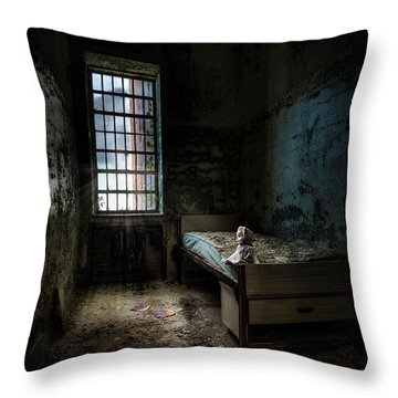 Old Room - Abandoned Places - Room With A Bed Throw Pillow by Gary Heller