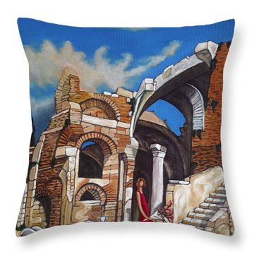 Old Ruins Flower Girl And Sheep Throw Pillow by William Cain