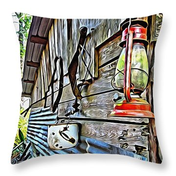 Old Rustic Building - Aunt Tinys Shed  Throw Pillow by Rebecca Korpita