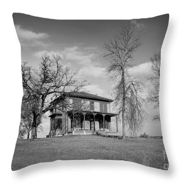 Old Rustic House On A Hill Throw Pillow