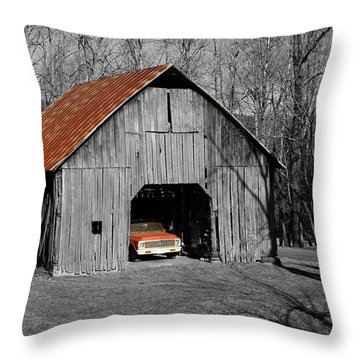 Throw Pillow featuring the photograph Old Rusty Barn  by Donald Williams