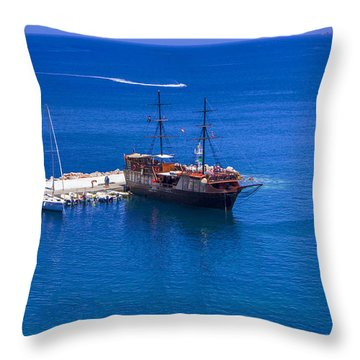 Old Sailing Ship In Bali Throw Pillow