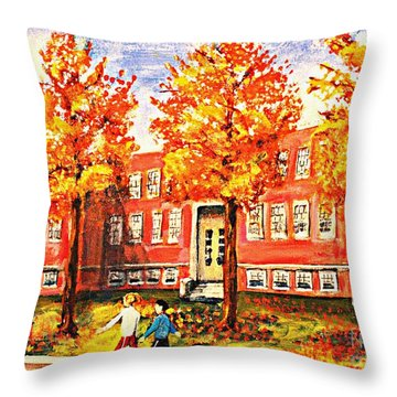 Throw Pillow featuring the painting Old Saint Mary's High School In Fall by Rita Brown
